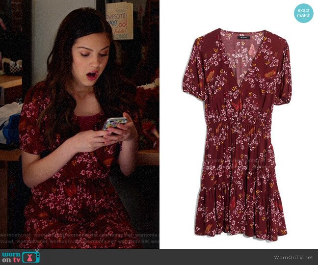 Madewell Windowbox Floral Ruffle Faux Wrap Dress worn by Nini (Olivia Rodrigo) on High School Musical The Musical The Series