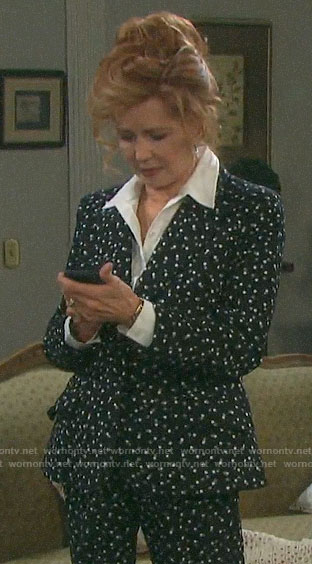 Maggie's black polka dot suit on Days of our Lives