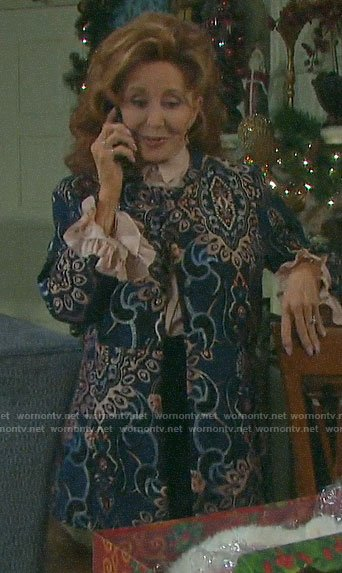 Maggie's paisley jacket and Christmas tree brooch on Days of our Lives