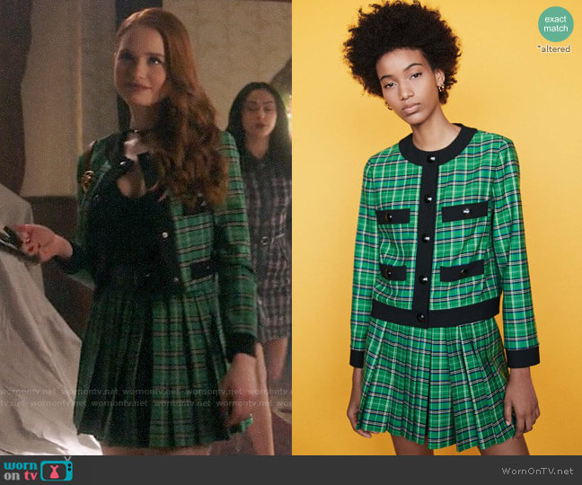 Maje Vivert Plaid Jacket and Iverts Plaid Skirt worn by Cheryl Blossom (Madelaine Petsch) on Riverdale