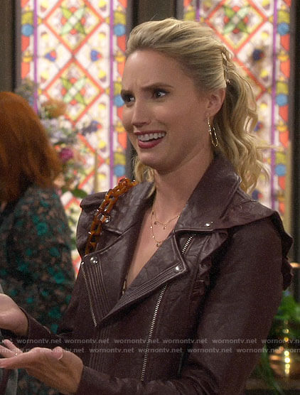 Mandy's purple ruffled leather moto jacket on Last Man Standing