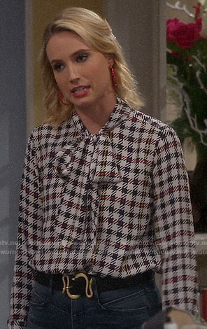 Mandy's checked tie neck blouse on Last Man Standing