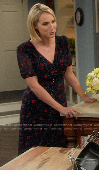 Mandy's rose print button front dress on Last Man Standing