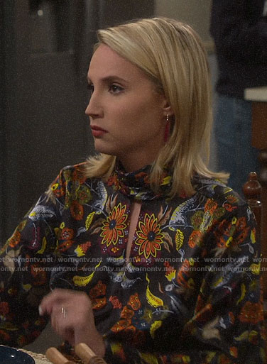 Mandy's floral keyhole blouse on Last Man Standing