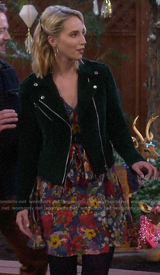 Mandy's floral wrap dress and green corduroy moto jacket on Last Man Standing