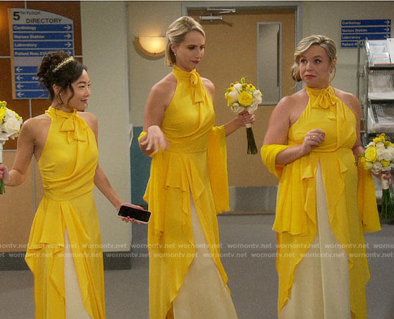 Mandy, Kristin, and Jen's yellow bridesmaid dress on Last Man Standing