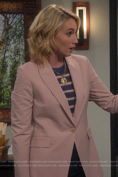 Mandy's pink blazer and blue striped sweater on Last Man Standing