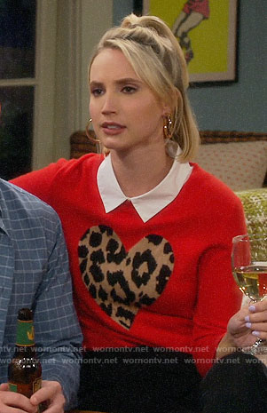 Mandy's red leopard heart sweater on Last Man Standing