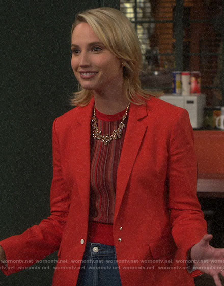 Mandy's red striped top and blazer on Last Man Standing