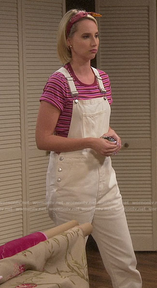 Mandy's white overalls and pink striped tee on Last Man Standing