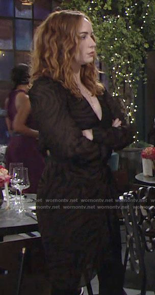 Mariah's brown tiger stripe dress on The Young and the Restless