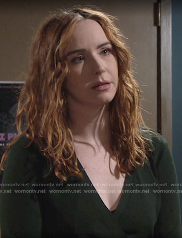 Mariah's green wrap sweater on The Young and the Restless