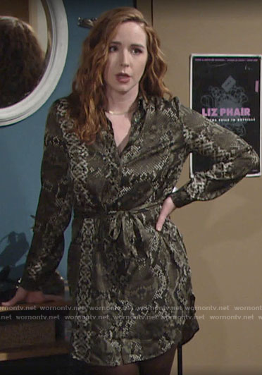 Mariah's snake print shirtdress on The Young and the Restless