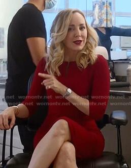 Marissa's red split-neck dress on Bull