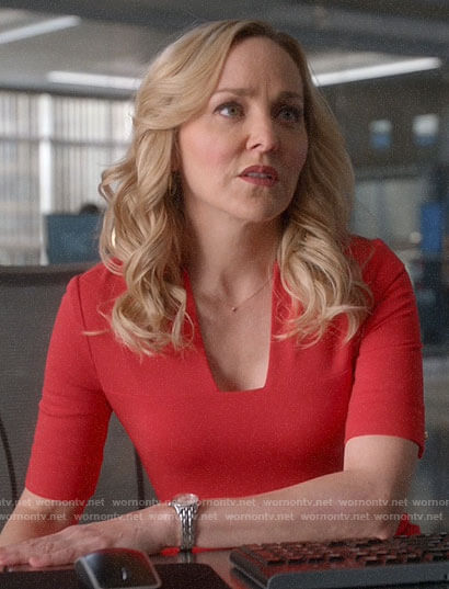 Marissa's red square v-neck dress on Bull