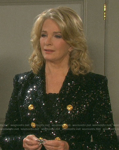 Marlena's black sequin NYE jacket on Days of our Lives