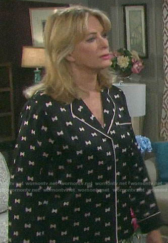 Marlena's bow print pajamas on Days of our Lives