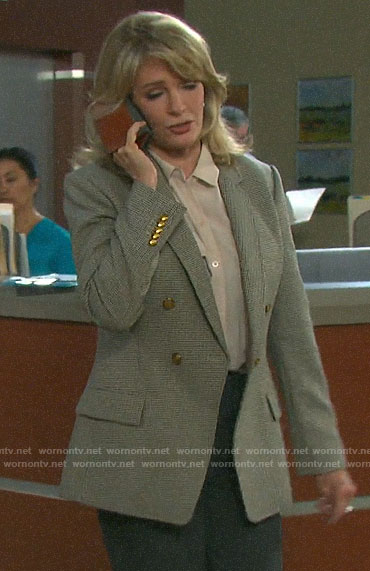 Marlena's checked double-breasted blazer on Days of our Lives