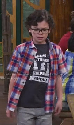 Matteo's black Always Three Steps Ahead print tee on Bunkd