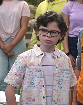 Matteo's white dinosaur print shirt on Bunkd