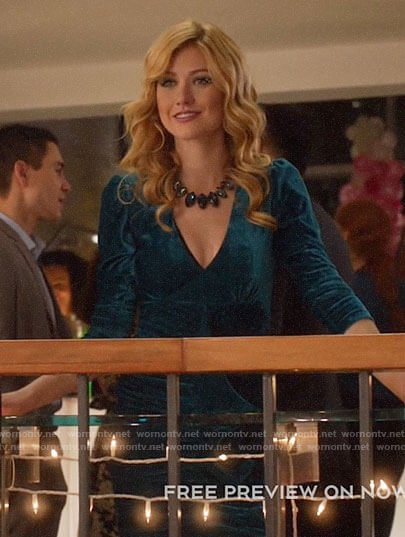 Mia's blue velvet dress on Arrow