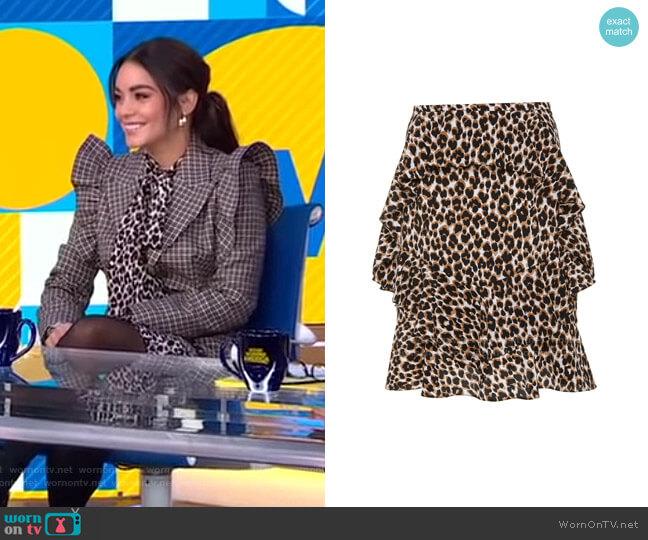 Leopard Silk Tiered Cascade Ruffle Skirt by Michael Kors worn by Vanessa Hudgens on GMA