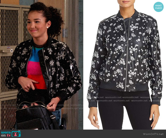 MICHAEL Michael Kors Metallic Embroidered Faux Leather Bomber Jacket worn by Gina (Sofia Wylie) on High School Musical The Musical The Series