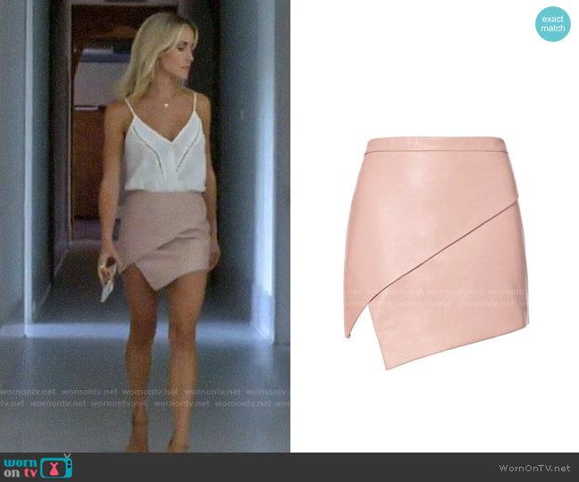 Michelle Mason Asymmetric Leather Skirt worn by Kristin Cavallari  on Very Cavallari