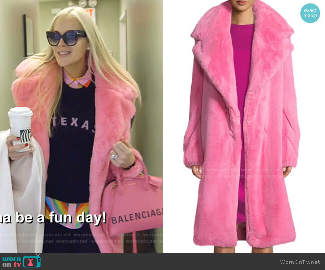Riley Long Faux-Fur Coat by Milly worn by Kameron Westcott  on The Real Housewives of Dallas