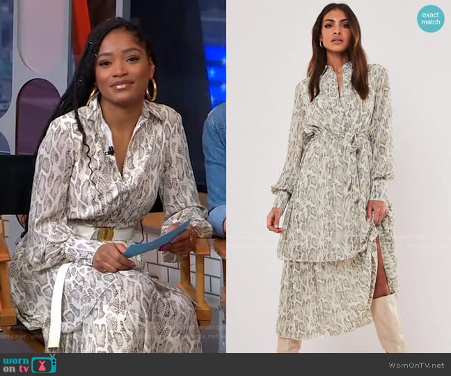 Stone Snake Print Midi Shirt Dress by Missguided worn by Keke Palmer  on Good Morning America