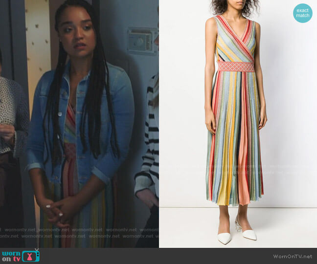 Striped Pleated Dress by Missoni worn by Kat Edison (Aisha Dee) on The Bold Type
