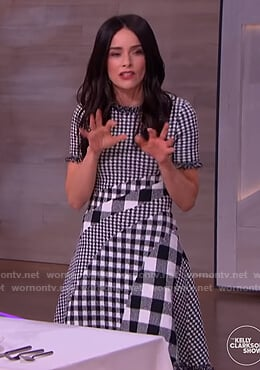 Abigail Spencer's mixed check dress on The Kelly Clarkson Show