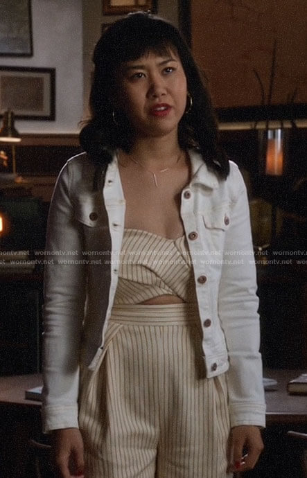 Mona's striped cutout jumpsuit on Legends of Tomorrow