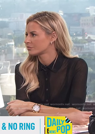 Morgan's black button down knit top on E! News Daily Pop