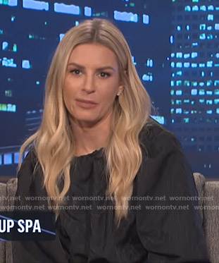 Morgan's black gathered neck blouse on E! News Nightly Pop