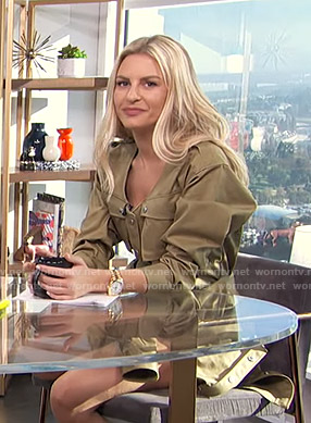 Morgan's khaki utility romper on E! News Daily Pop