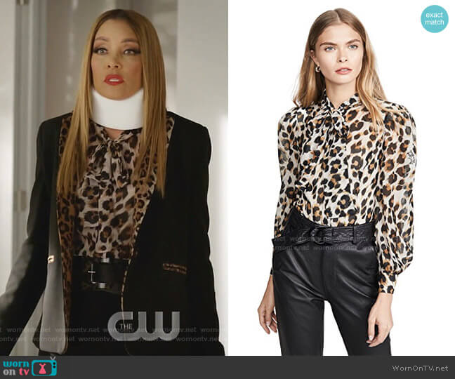 Leopard Blouse by Boutique Moschino worn by Dominique Deveraux (Michael Michele) on Dynasty