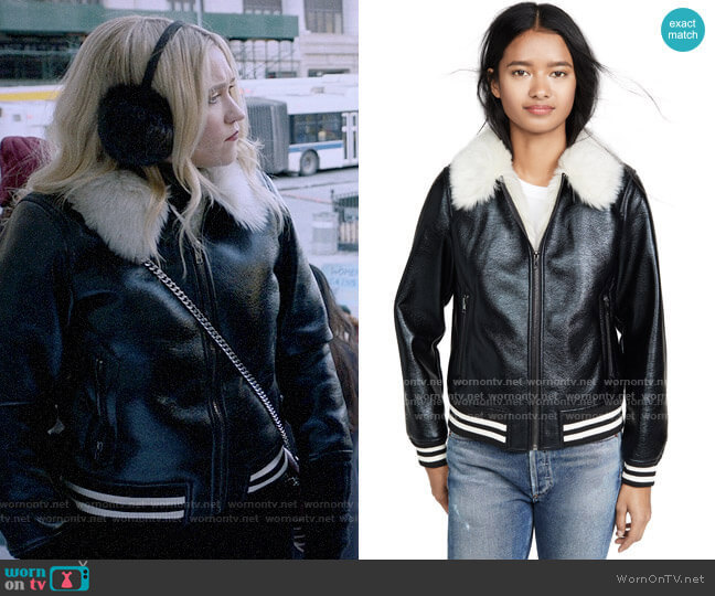 Mother The Faux Fur-Lined Bomber Jacket worn by Roxy Doyle (Emily Osment) on Almost Family