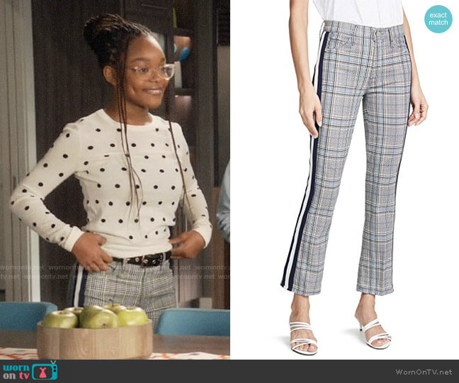 Mother Insider Plaid Racing Stripes Trousers worn by Diane Johnson (Marsai Martin) on Blackish
