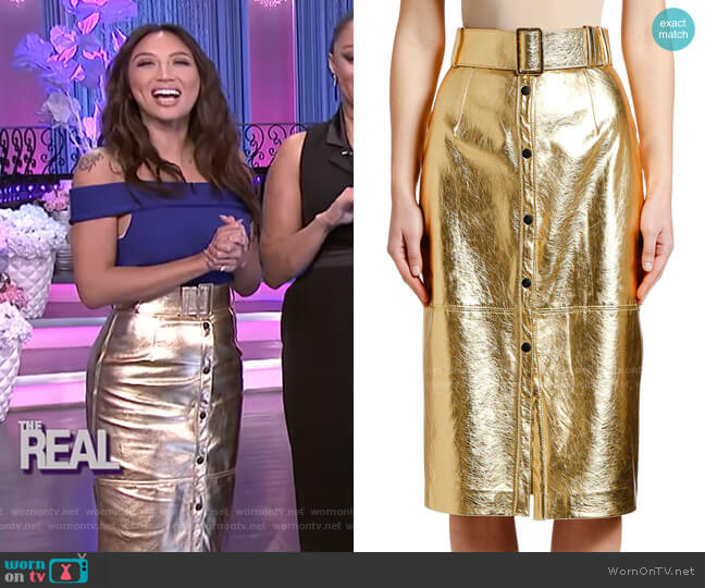 Metallic Belted Midi Skirt by MSGM worn by Jeannie Mai  on The Real