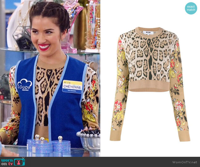 MSGM Leopard Print Cropped Sweater worn by Cheyenne (Nichole Bloom) on Superstore