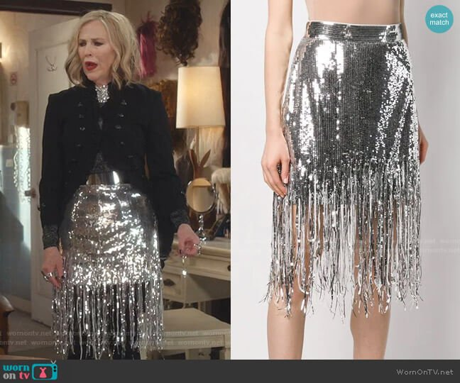 Sequin Fringed Skirt by MSGM worn by Moira Rose (Catherine O'Hara) on Schitts Creek