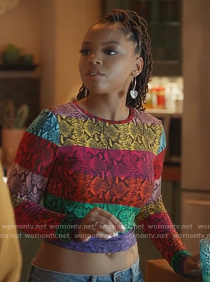 Jazlyn's multicolored snakeskin top on Grown-ish
