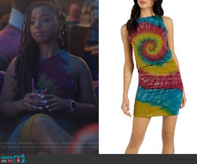 Majorca Ruched Tie-Dye Tank Dress by n:philanthropy worn by Zoey Johnson (Yara Shahidi) on Grown-ish