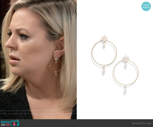 Nadri Tango Doorknocker Earrings worn by Maxie Jones (Kirsten Storms) on General Hospital