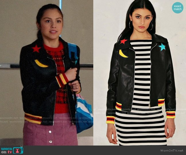 Nasty Gal Serena Star Jacket worn by Nini (Olivia Rodrigo) on High School Musical The Musical The Series