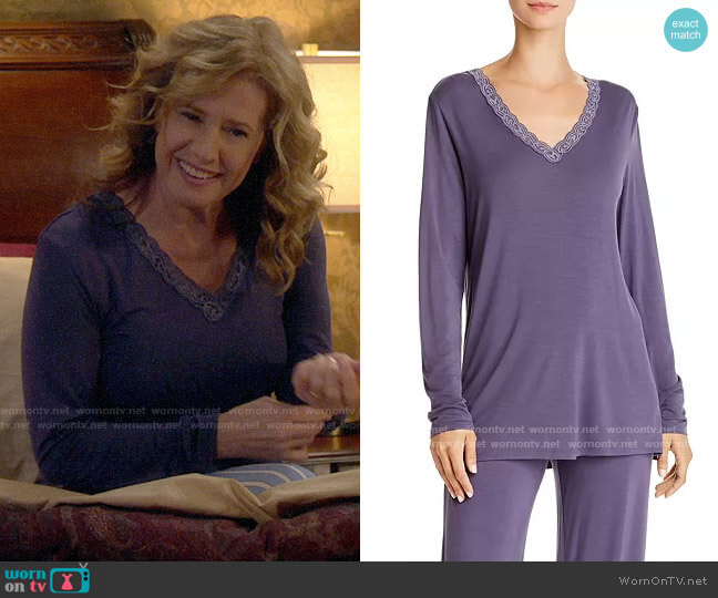 Natori Feathers Essential Long PJ Set worn by Vanessa Baxter (Nancy Travis) on Last Man Standing