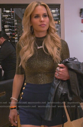 Jackie's button embellished shorts and metallic top on The Real Housewives of New Jersey