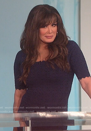 Marie's navy laser-cut dress on The Talk