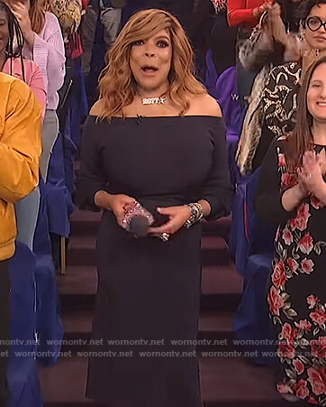 Wendy's navy off shoulder dress on The Wendy Williams Show